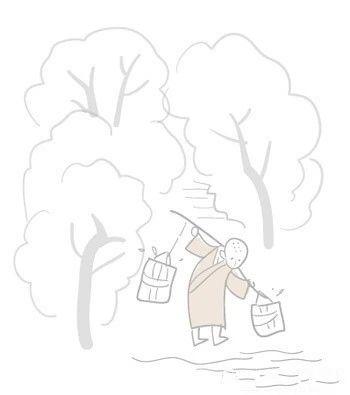 深山藏古寺 怎样用简笔画表现出来