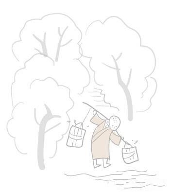 少女树林读书手绘